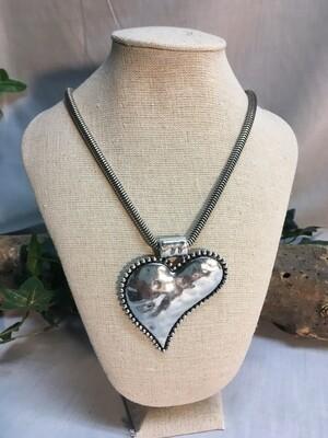 Heart Necklace, Antique style - Matt Finish - 22 inch length - Metal Fashion Jewellery