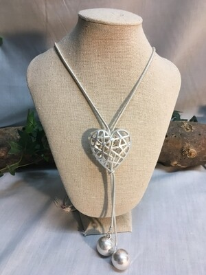 """Heart Necklace, """"Caged"""" Heart Bead on double chain - 45 inches - Metal Fashion Jewellery"""