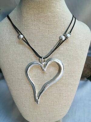 Heart Necklace on black cords - Matt Finish - 38 inch length - Metal Fashion Jewellery