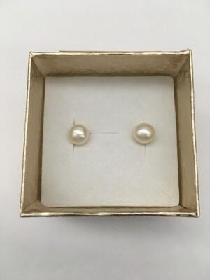 Freshwater Pearl Stud Earrings - Single Medium White Pearls