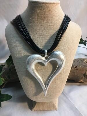 Heart Necklace - Matt Finish, Chunky Style - 18 inch length - Metal Fashion Jewellery