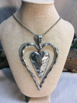 Double Heart Necklace with chain - 40 inches - Metal Fashion Jewellery