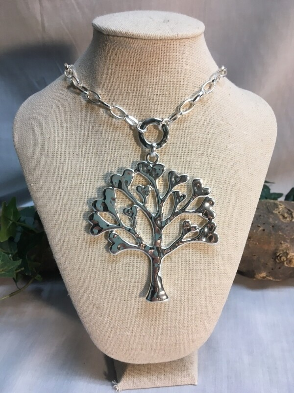 Heart Tree of Life Necklace on open link chain - 39 inches - Metal Fashion Jewellery