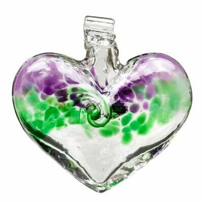 """3"""" Heart - Van Glow - Purple/Green - Canadian Blown Glass"""