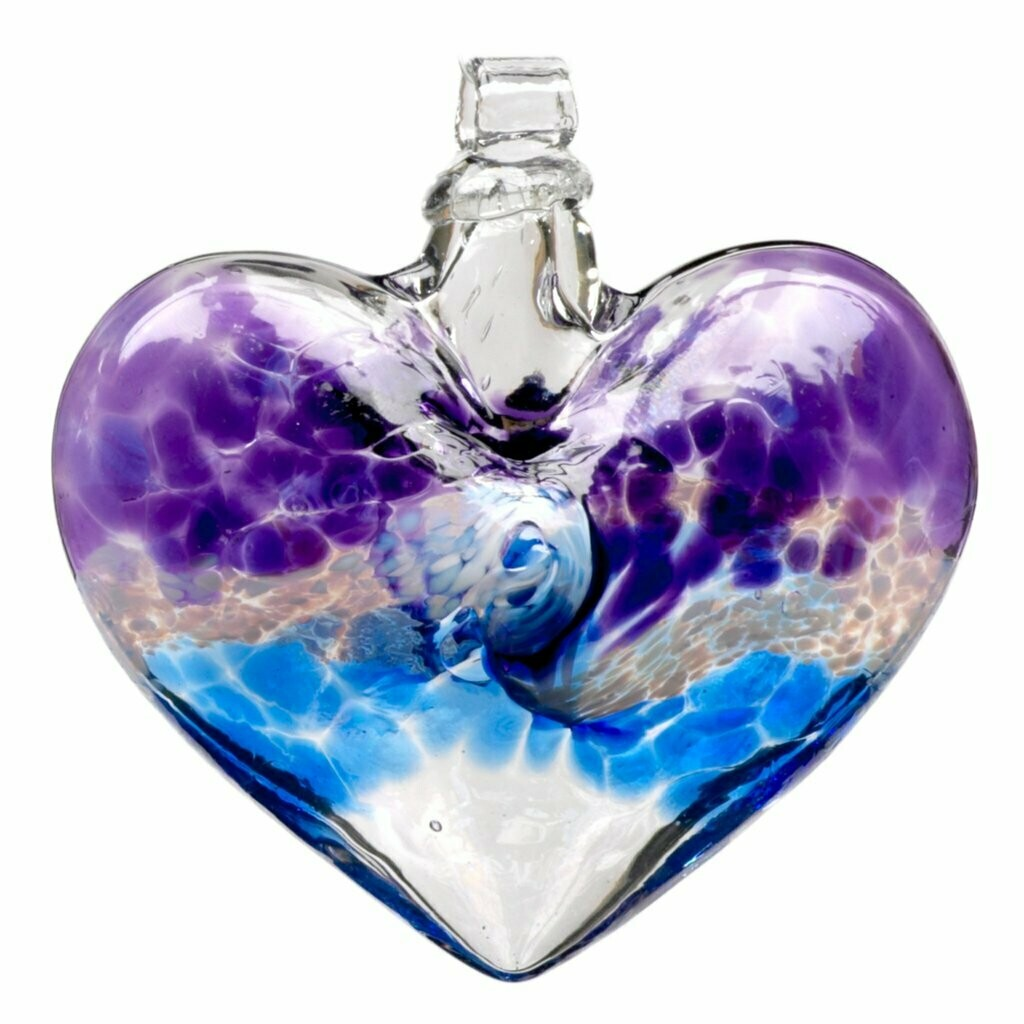 """3"""" Heart - Van Glow - Purple/Blue - Canadian Blown Glass"""
