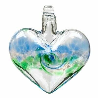 "3"" Heart - Van Glow - Blue/Green - Canadian Blown Glass"