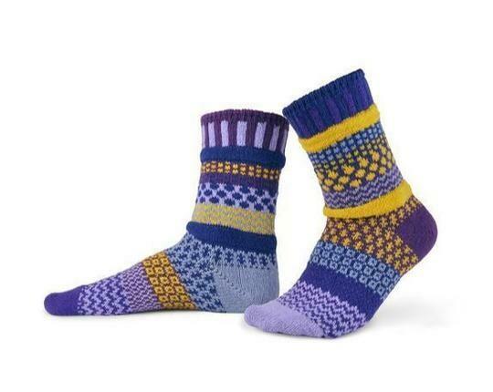 Purple Rain - Large - Mismatched Crew Socks - Solmate Socks