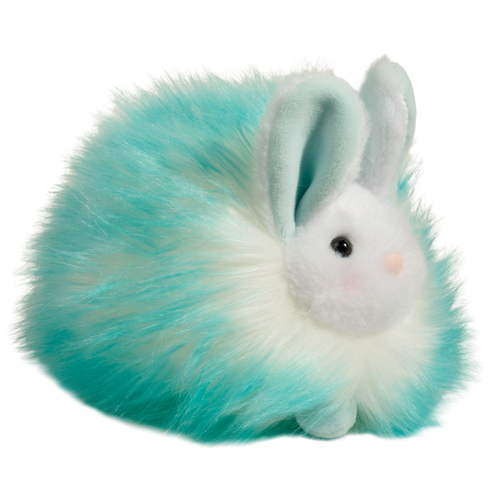 Puff Bunny Aqua - 6 inches long / 5 inches tall - Douglas Plush