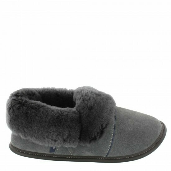Mens Low-cut - 7.5/8.5  Charcoal/ Silver Fox Fur: Garneau Slippers