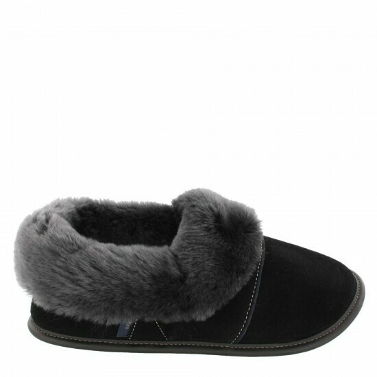 Mens Low-cut - 9/10  Black / Silverfox Fur: Garneau Slippers