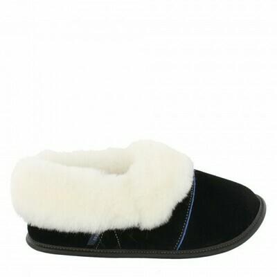 Ladies Low-cut - 7.5/8.5  Black / White Fur: Garneau Slippers