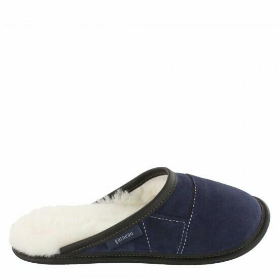 Mens Slip-on - 12/13  Navy / White Fur: Garneau Slippers