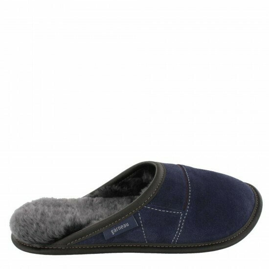 Mens Slip-on - 10.5/11.5  Navy / Silverfox Fur: Garneau Slippers