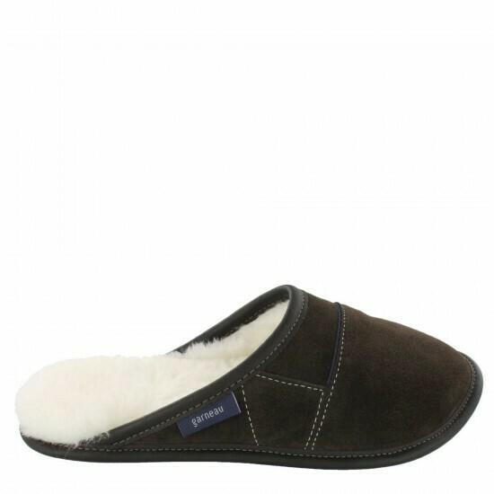 Ladies Slip-on - 7.5/8.5  Brown / White Fur: Garneau Slippers