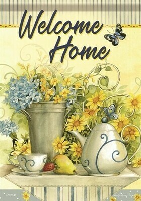 "Tea Time - 'Welcome Home' - House Flag - 28"" x 40"""