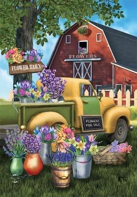 """Flower Barn - Garden Flag - 12.5 """" x 18"""""""