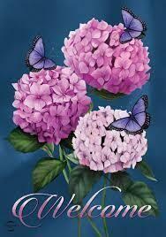 """Butterflies and Hydrangeas - Garden Flag - 12.5 """" x 18"""""""