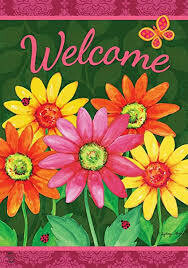 """Welcome Daisies - House Flag - 28"""" x 40"""""""