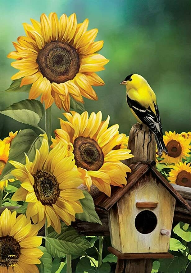 """Goldfinch and Sunflowers - Garden Flag - 12.5 """" x 18"""""""