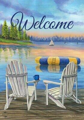 "Waterfront Retreat Welcome - Garden Flag - 12.5 "" x 18"""