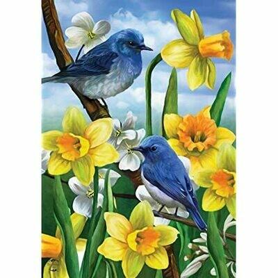 """Bluebirds and Daffodils - Garden Flag - 12.5 """" x 18"""""""