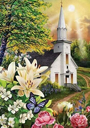 """Spring Church - Garden Flag - 12.5 """" x 18"""""""