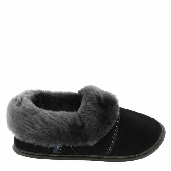 Mens Low-cut - 7.5/8.5  Black / Silverfox fur: Garneau Slippers