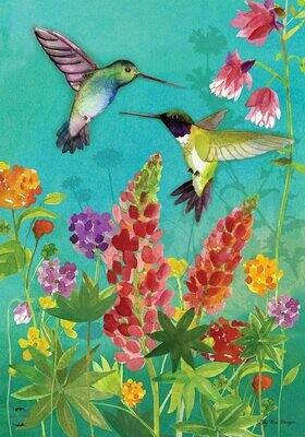 "Hummingbird Greeting - Garden Flag - 12.5 "" x 18"""