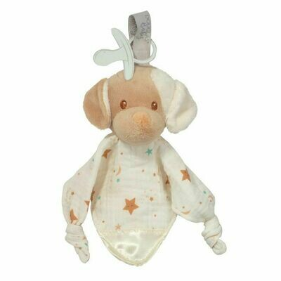 Auggie Tan Puppy - Paci Lovey, Pacifier Holder Blanket - Douglas Baby