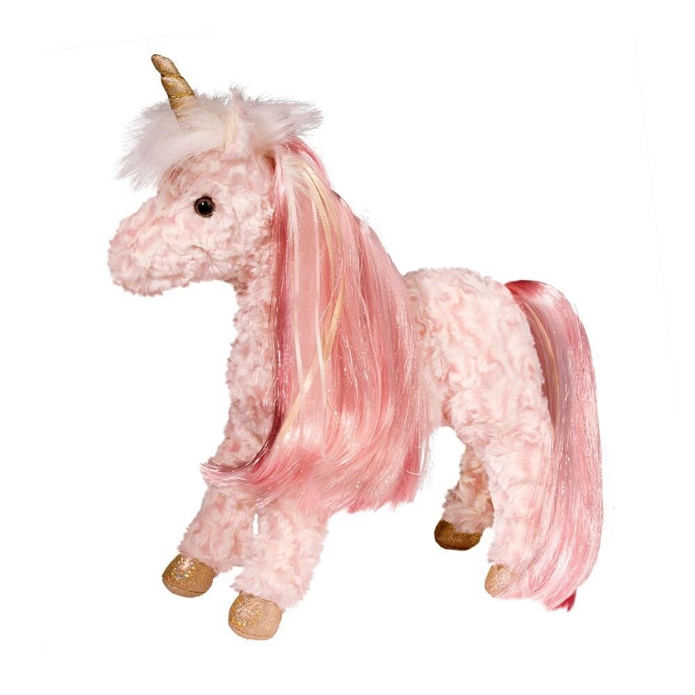 Rose - Pink Unicorn with Brush - 13 inches - Douglas Plush