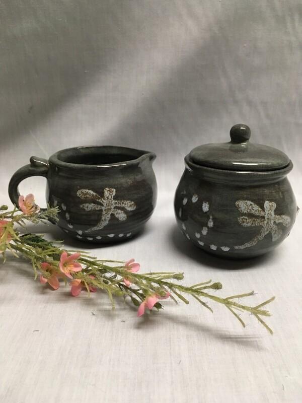 Cream & Sugar Set - Dragonfly - Canadian Handmade by Ed Lucier