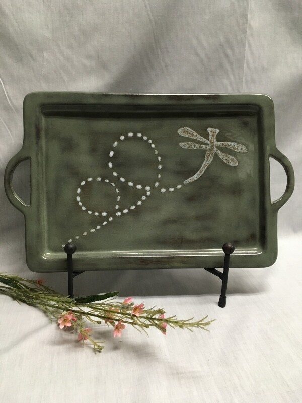 Handled Rect Tray - Dragonfly - Canadian Handmade by Ed Lucier
