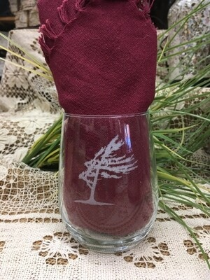 Wine Cup - Windswept Tree - Stemless - Etched Glass - Canadiana Collection