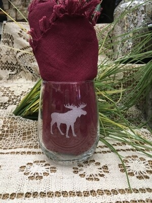 Wine Cup - Moose - Stemless - Etched Glass - Canadiana Collection