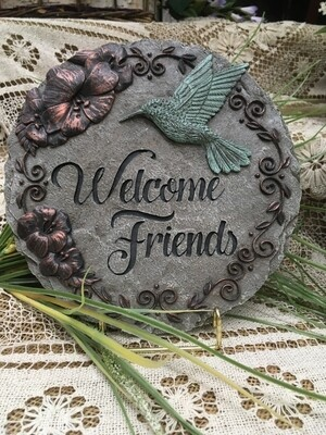 Garden Stepping Stone - Welcome Friends with hummingbird - 9 inch diameter