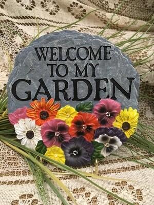 Garden Stepping Stone - Welcome to my Garden - 8 inch diameter
