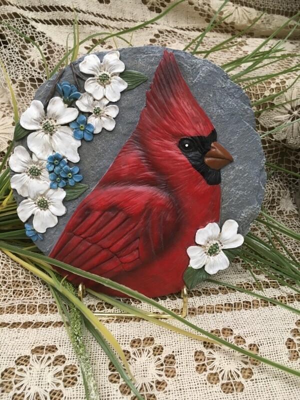 Garden Stepping Stone - Cardinal in Dogwood - 8 inch diameter