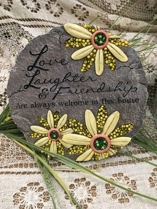 Garden Stepping Stone - Love Laughter and Friends - 9 inch diameter - beadwork