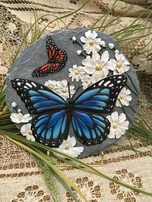 Garden Stepping Stone - Butterflies and Flowers - 8 inch diameter