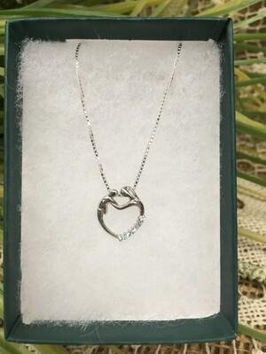 Birthstone Heart Necklace - C - March - Mother and Child Sterling Silver Pendant with Cubic Zirconian Stones and 18 inch chain
