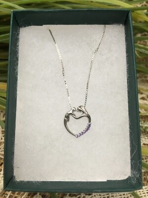 Birthstone Heart Necklace - B - February - Mother and Child Sterling Silver Pendant with Cubic Zirconian Stones and 18 inch chain