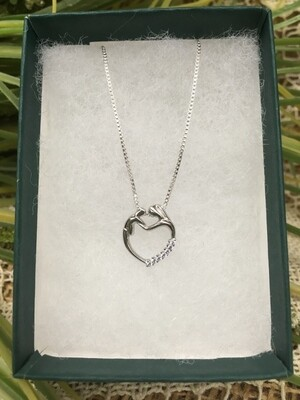 Birthstone Heart Necklace - F - June - Mother and Child Sterling Silver Pendant with Cubic Zirconian Stones and 18 inch chain