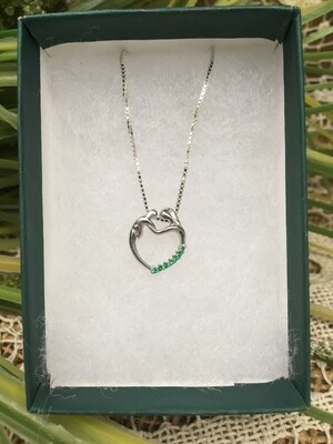 Birthstone Heart Necklace - E - May - Mother and Child Sterling Silver Pendant with Cubic Zirconian Stones and 18 inch chain
