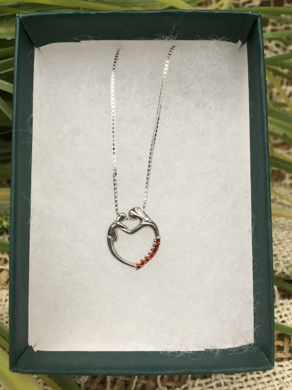 Birthstone Heart Necklace - G - July - Mother and Child Sterling Silver Pendant with Cubic Zirconian Stones and 18 inch chain
