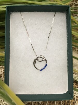 Birthstone Heart Necklace - I - September - Mother and Child - Sterling Silver Pendant with Cubic Zirconian Stones and 18 inch chain