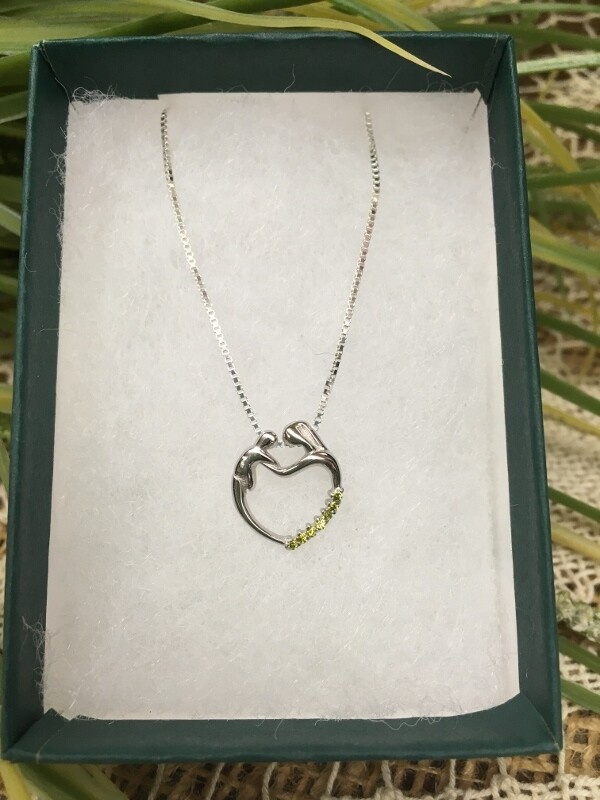 Birthstone Heart Necklace - H - August - Mother and Child Sterling Silver Pendant with Cubic Zirconian Stones and 18 inch chain