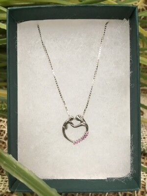 Birthstone Heart Necklace - J - October - Mother and Child - Sterling Silver Pendant with Cubic Zirconian Stones and 18 inch chain