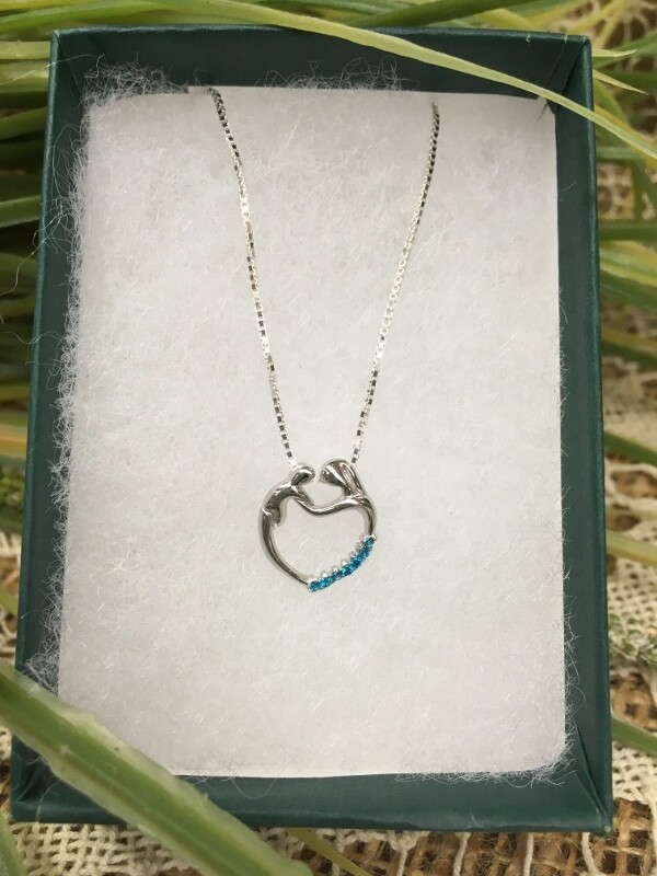 Birthstone Heart Necklace - L - December - Mother and Child Sterling Silver Pendant with Cubic Zirconian Stones and 18 inch chain