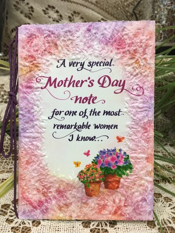 Mother's Day - A Very Special Mother's Day note for one of the most remarkable women I know - Raffia Bow and handmade paper card - Blue Mountain Arts