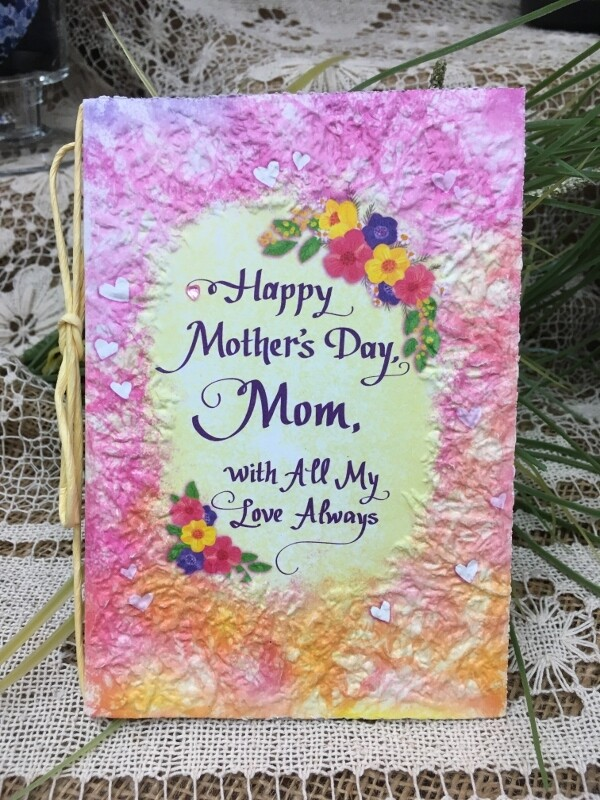 Mother's Day - Happy Mother's Day Mom, With all my Love Always - Raffia Bow and handmade paper card - Blue Mountain Arts
